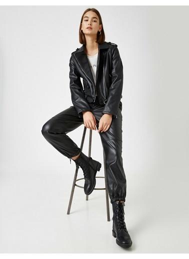 Koton Kemerli Deri Görünümlü Ceket Siyah